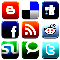 social media networking and bookmarketing buttons